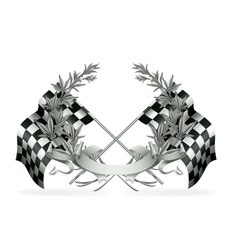 Wreath and Racing flags vector image vector image
