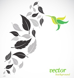 Abstract leaves and hummingbirds vector image vector image