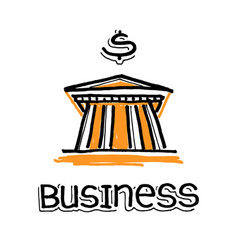 Bank building and word business vector