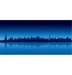 New york city skyline in blue version at night vector image vector image