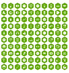100 social media icons hexagon green vector