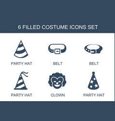 6 costume icons vector image