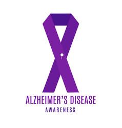 Alzheimer disease awareness ribbon with a pin vector