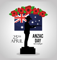 Anzac day lest we forget poster soldier in podium vector
