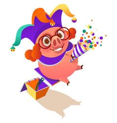 april 1 fools day pig clown surprise flapper vector image