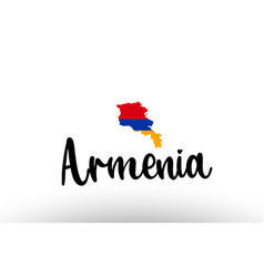 Armenia country big text with flag inside map vector