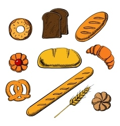 Bakery icons with bread and pastry vector image
