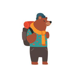 Bear travelling with backpack cute cartoon animal vector