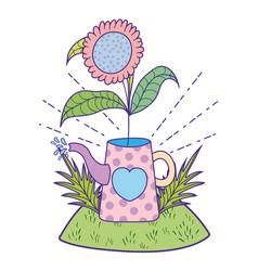beautiful cute garden with sprinkler scene vector image