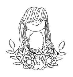 beautiful mermaid with wreath flowers vector image