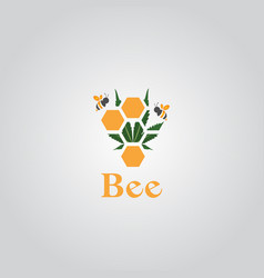 Beebee logo design template with cannabis leaf vector