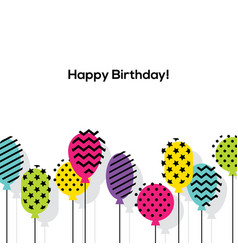 birthday greeting card design with balloons vector image