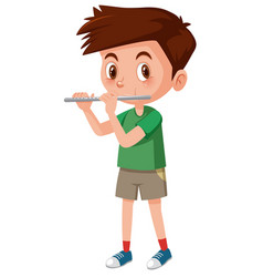 Boy playing flutes on white background vector