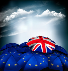 brexit concept umbrella with national flag vector image