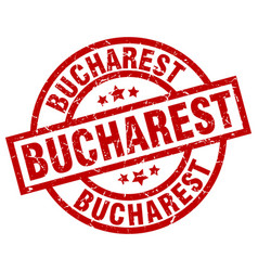 Bucharest red round grunge stamp vector