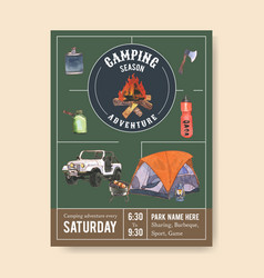 Camping poster design with axe campfire car grill vector