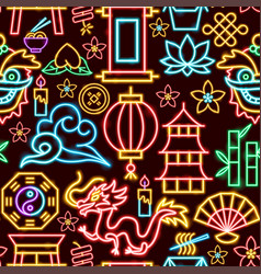 chinese seamless neon pattern vector image