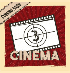 Cinema coming soon poster film strip countdown red vector