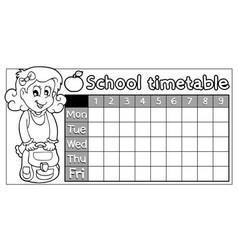 Coloring book school timetable 8 vector