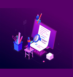 Copywriting concept - modern colorful isometric vector
