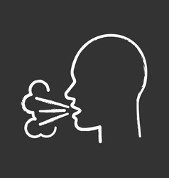 Coughing chalk icon vector