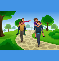couple having a piggyback race vector image