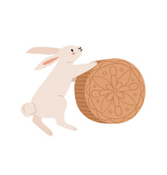 cute rabbit with moon cake for mid-autumn festival vector image