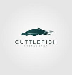 Cuttlefish logo vintage silhouette design vector