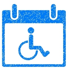 Disabled Person Calendar Day Grainy Texture Icon vector