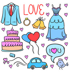 Element wedding party doodles style vector