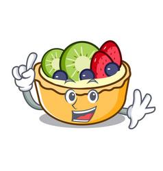 Finger fruit tart mascot cartoon vector