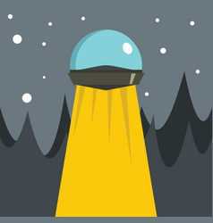 Flat cartoon with ufo vector