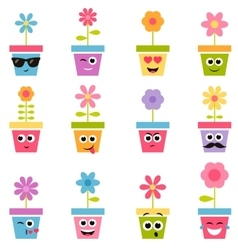 flowers in pots with smiley faces vector image