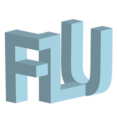 flu 3d letters sign respiratory disease vector image