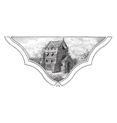 Fourteenth century fortified house vintage vector