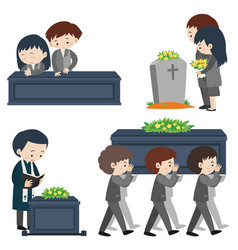 Funeral scene with many sad people vector