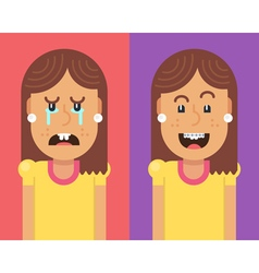 Girl without and with braces vector