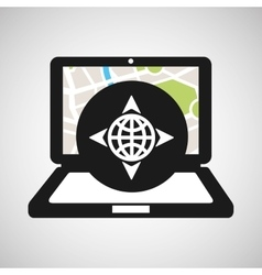 Globe location laptop map gps vector