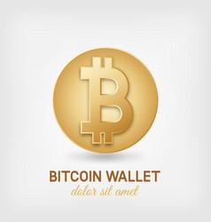 Golden bitcoin symbol vector