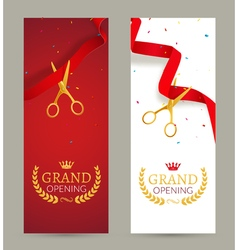 Grand Opening invitation banner Red Ribbon cut vector image