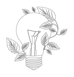 Grayscale contour with light bulb and creeper vector