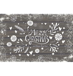 greeting card with merry christmas hand lettering vector image