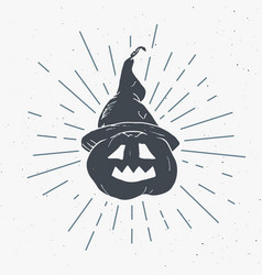 halloween greeting card vintage label hand drawn vector image
