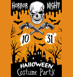 Halloween poster horror skull party vector