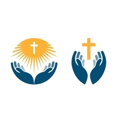 Hands holding cross icons or symbols religion vector