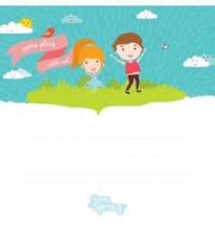 Happy kids on summer background vector