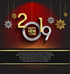 Happy new year 2019 hanging golden and silver vector