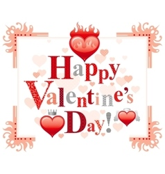 Happy Valentines day border romance love text vector image
