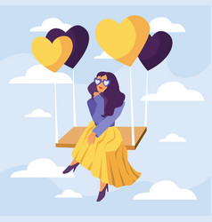 happy valentines day girl in heart glasses vector image
