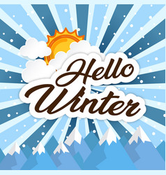 Hello winter sun brown image vector